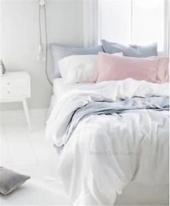 French Provincial White Linen King Bed Doona Duvet Quilt