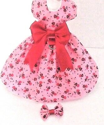 DOG DRESS/harness  RED HEARTS  CHERRIES  NEW   FREE SHIPPING - Red Hearts