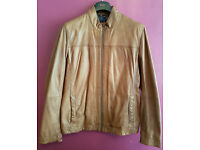 Hugo Boss Orange Jips Leather Bomber Jacket In Tan - Size 42