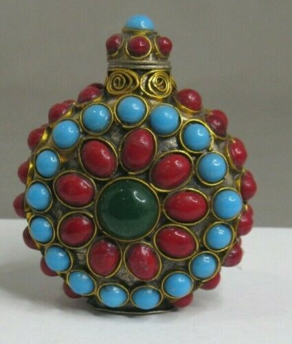 Snuff / Scent Bottle, Chinese, Bronze Wire w/Red, Turquoise and Green Stones