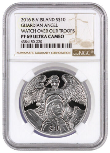 2016 British Virgin Islands $10 1 oz Silver Guardian Angel NGC PF69 UC SKU40250