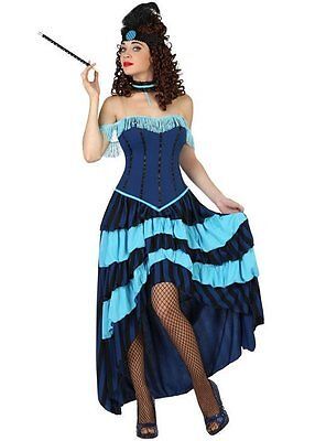Cheap Western Costumes (Costume Woman Lady Saloon Blue XS/S 36/38 Western Cabaret New)