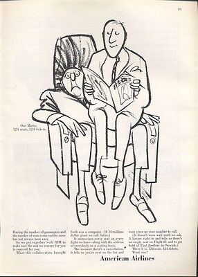 1965 American Airlines  Our Motto  124 Seats  124 Tickets  Saxon Art Print Ad