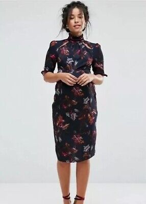 Hope And Ivy Maternity Floral Midi Dress Size UK 8 Immaculate Condition