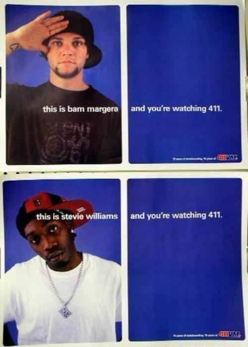 Bam Margera Stevie Williams 411 skateboard poster CKY NEW old stock Flawless