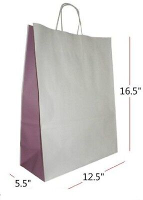 10 x Medium Two-Tone Twisted Paper Handle Paper Carrier Bags + FREE P&P