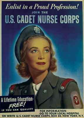 "Cadet Nurse Corps"" 1943 World War 2 Recruiting Poster 11x14 ""Join the U.S"