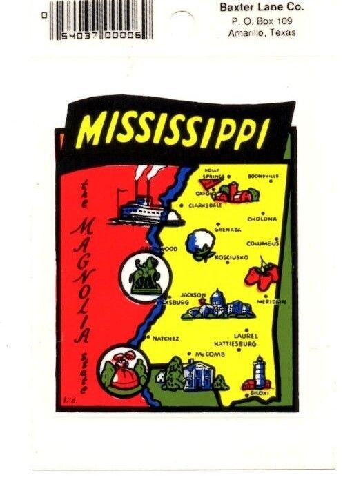 Lot of 12 Mississippi State Souvenir Luggage Decal Stickers - New - Free S&H
