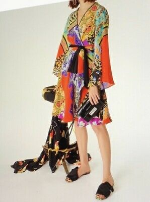 Etro Collage Print Silk Dress Women's size 46 US 10-12 NWOT
