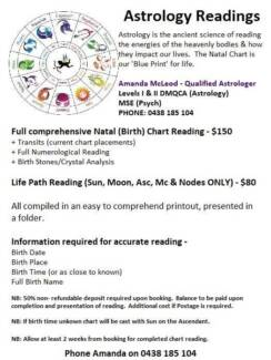 Astrology Readings - contact via mobile phone please