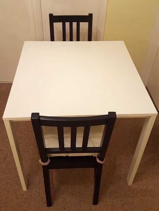 ikea melltorp white table with 2 chairs stefan brown black chairs pad justina in windsor. Black Bedroom Furniture Sets. Home Design Ideas