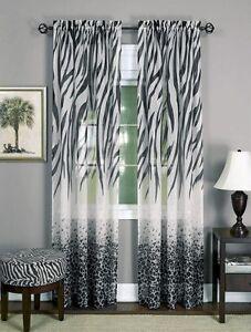 safari animal window curtain panel - zebra leopard 84