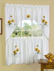 sunflower embroidered kitchen curtain set EMBELLISHED TIER u0026 SWAG SET  sunshine