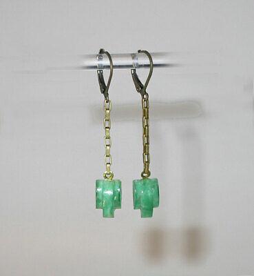 1920s Art Deco Jewelry: Earrings, Necklaces, Brooch, Bracelets ~DAINTY VTG 1920s ART DECO STEPPED JADE DANGLES DROP EARRINGS!~~ $26.00 AT vintagedancer.com