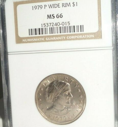 1979 P $1 Wide Rim Susan B. Anthony NGC MS 66 Near Date Uncirculated Dollar Coin