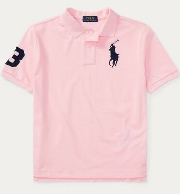 NWT POLO RALPH LAUREN BOYS CARMEL PINK BIG PONY SHORT SLEEVE RUGBY SHIRT CLASSIC