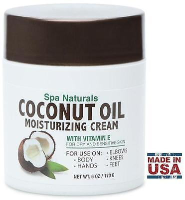 Spa Naturals COCONUT OIL MOISTURIZING CREAM (6oz / 170g) Vitamin E for Dry Skin