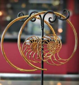 NEW Gold-plated ammonite hoops earrings body jewelry