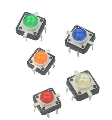 5pcs New 12x12x7.3 Tactile Push Button Switch Momentary Tact Led 5 Color