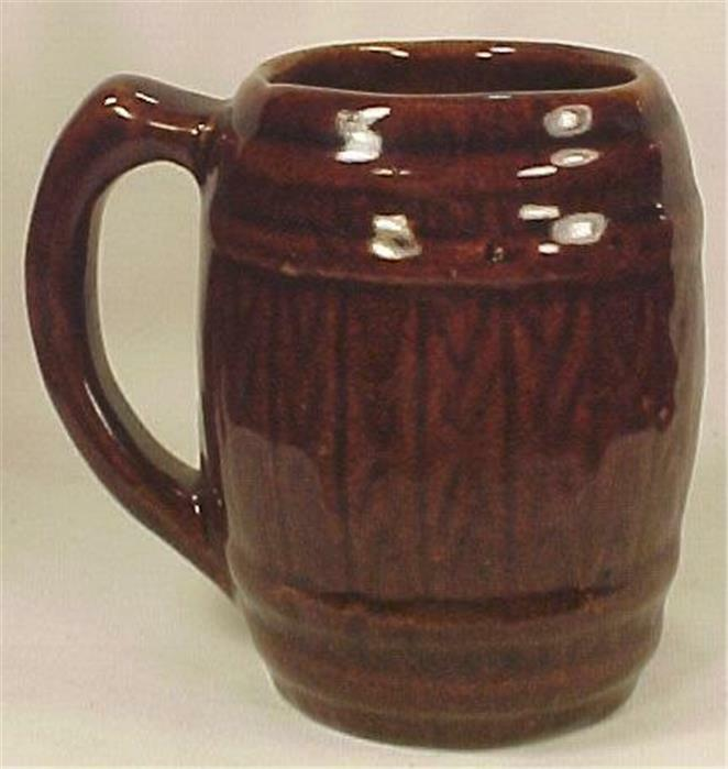 Vintage Mug Beer Stein Brown Barrel Pottery