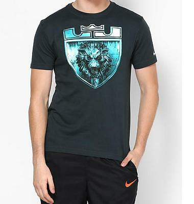 Nike LeBron James Foundation Lion Crest Dri-Fit T-Shirt Atomic Teal Men's 2XL Foundation Fitted T-shirt
