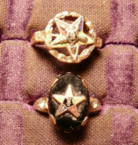 ORDER OF EASTERN STAR 14k TRICOLOR RING SZ5 3gm & OES 14kRGP  LADIES SIZE 4 RING