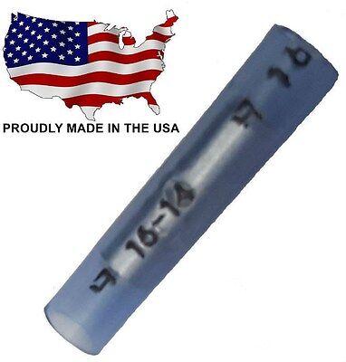 (100 Blue Straight Nylon Butt Splice Connectors 16-14 AWG Gauge - TBS14N)