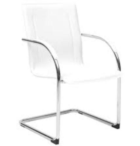 4x Sedia fissa su slitta struttura cromata e seduta bianca finta pelle mod.milan