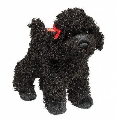 New DOUGLAS TOY Stuffed Plush BLACK POODLE DOG Soft Animal Puppy RED BOW - Black Poodle Stuffed Animal