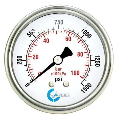 2-12 Pressure Gauge Stainless Steel Case Liquid Filled Back Mnt 1500 Psi