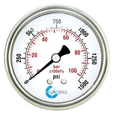 2.5 Liquid Filled Pressure Gauge 0 - 1500 Psi Stainless Steel Case Back Mount