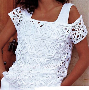 CROCHET PATTERN Tunic Motif Top Sizes 8 to 18 - Summer/Party Wear