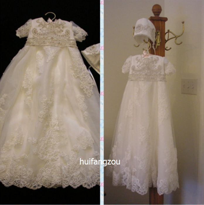 43feb033c Details about Newborn Vintage Infant Baptism Dresses Lace Baby Ivory White  Christening Gown