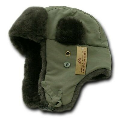 Olive Green Aviator Bomber Faux Fur Winter Ski Trooper Trapper Ear Flap Hat L/XL