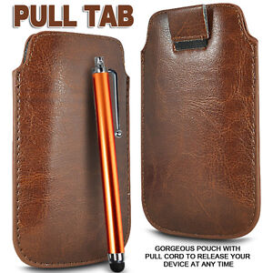 PREMIUM PU LEATHER PULL FLIP TAB CASE COVER POUCH & STYLUS PEN FOR MOBILE PHONES