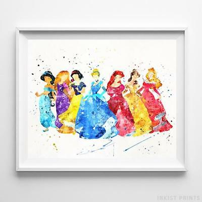 Disney Seven Princesses Poster Print Princess Baby Nursery Decor - Disney Princesses Baby