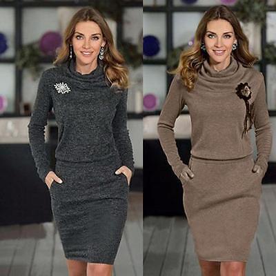 Womens Turtleneck Package Hip Ladies Slim Business Pencil Cocktail Mini Dress