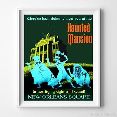 Disneyland Poster Haunted Mansion Attraction Disney World Decor UNFRAMED