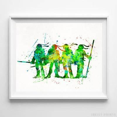 Teenage Mutant Ninja Turtle Wall Decor Watercolor Poster Nursery Baby UNFRAMED](Ninja Turtle Decoration)