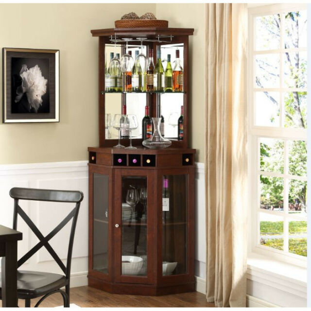 Corner Bar Cabinet Wine Bottle Storage Stemware Rack Liquor Home Pub  Furniture. Corner Bar Cabinet Wine Bottle Storage Stemware Rack Liquor Home