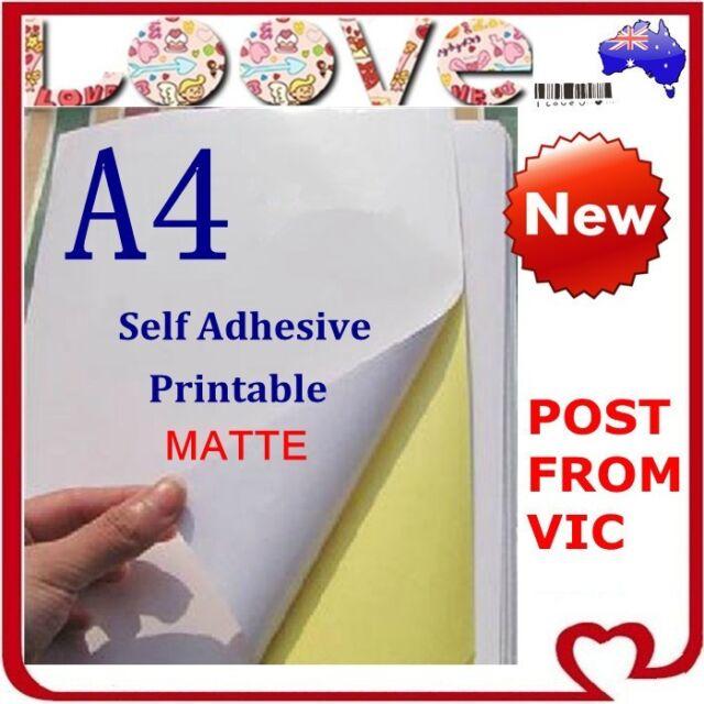 20 x A4 White Matte Self Adhesive Sticker Paper Sheet Label Laser Inkjet Print