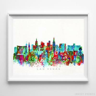 Las Vegas Nevada Watercolor Skyline Wall Art Home Decor Poster UNFRAMED - Las Vegas Decorations