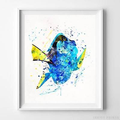 Disney Finding Nemo Wall - Dory Finding Nemo Wall Art Disney Watercolor Poster Home Decor Print UNFRAMED