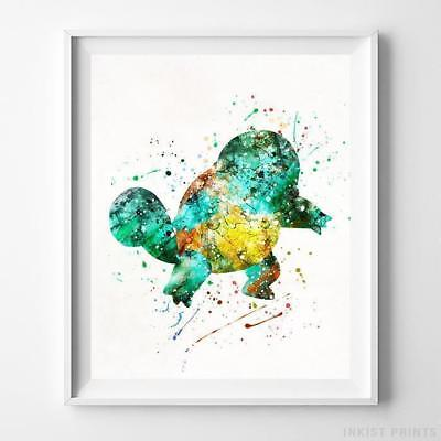 Squirtle Pokemon Wall Decor Watercolor Poster Nursery Room Decor Print - Pokemon Wall Decor