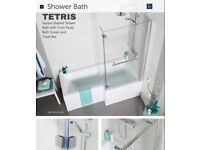 L Shower Bath, glass Screen with Towel Rail and Front Panel