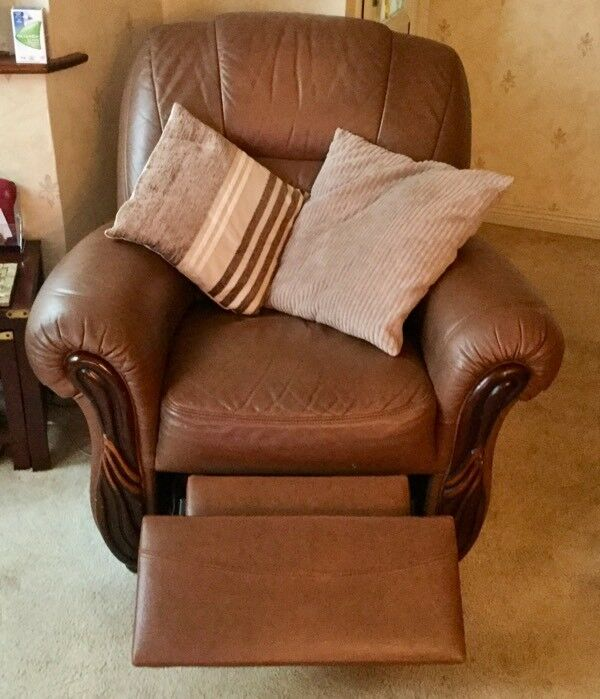 Genuine leather three seater settee and electric recliner