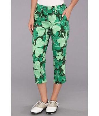 LOUDMOUTH Women's Golf Capri Pants Lucky Green Shamrock Sz 6 - Loudmouth Solid Pants