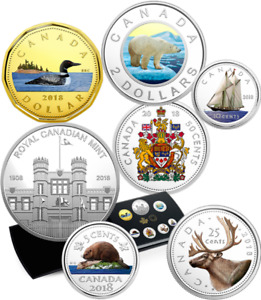 2018 Pure Silver Colourised Coin Set: Classic Canadian Proof RCM