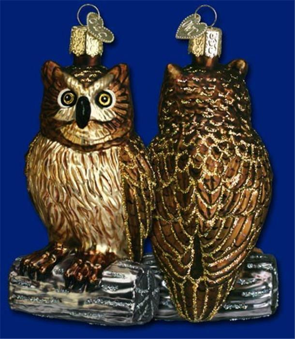 WISE OLD OWL OLD WORLD CHRISTMAS GLASS BIRD NATURE WILDLIFE ORNAMENT NWT 16019