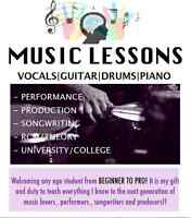 1on1 MUSIC LESSONS (DRUMS|VOCALS|PIANO|GTR|BASS|PRODUCTION)